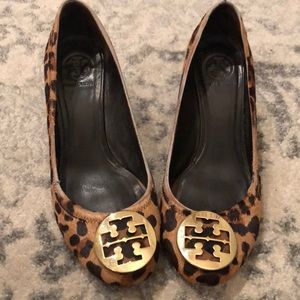 Tory Burch Leopard print wedges size 11